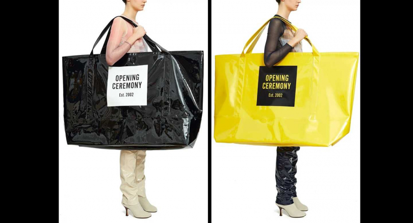Ceremony推出超大尺寸PVC托特袋,要價98美金。(圖/攝自Opening Ceremony官網)