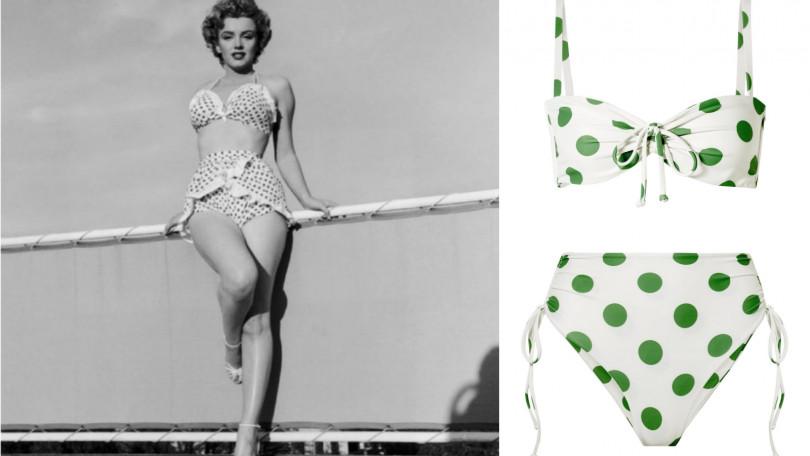 左:性感女神瑪麗蓮夢露也曾穿著波點泳裝。右:FAITHFULL THE BRAND Tessa and Helena polka-dot bikini/183.32美金。(圖/翻攝自網路、品牌提供)