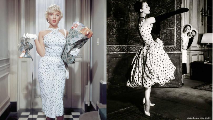 左:瑪麗蓮夢露經典波點洋裝穿著,搭配捲翹短髮仍舊性感迷人。右:穿著DIOR波點洋裝的Mary Jane Russell,蓬鬆層次的裙擺、長袖套讓她盡顯優雅。(圖/皆翻攝自網路)