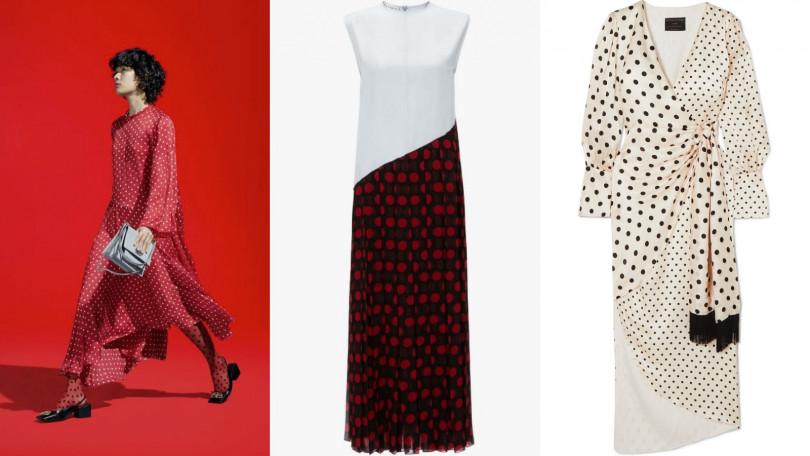 由左至右為Balenciaga、JW Anderson Pleated Polka-dot Dress/1176.63美金、MOTHER OF PEARL Velda polka-dot silk satin wrap dress/815.97美金。(圖/皆為品牌提供)
