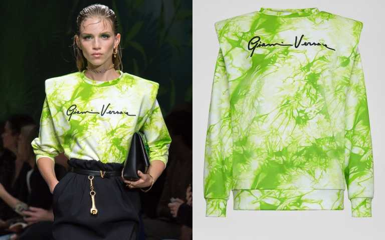 在柔軟休閒的運動衫中加入墊肩,展現全然不同的力度。VERSACE Tie-Dye Print Sweatshirt/約29,650元(圖/品牌提供)
