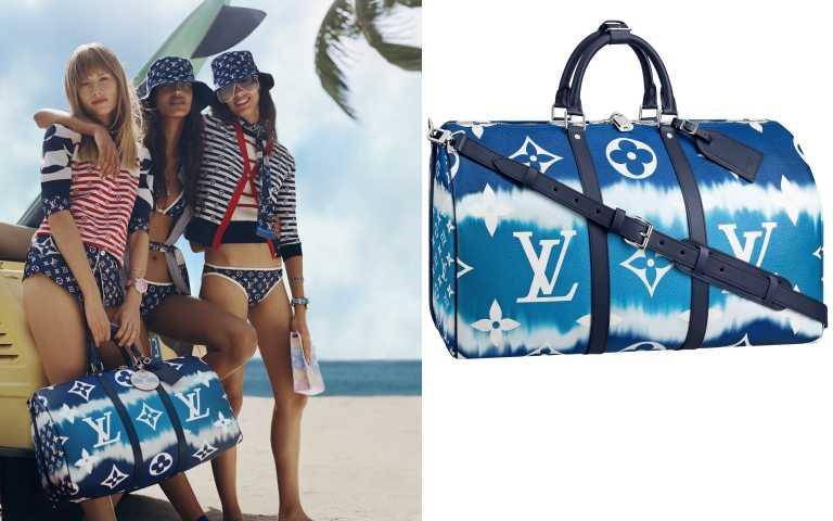 從大型手袋到小皮件都可以看見紮染的美麗色彩。LOUIS VUITTON Keepall 50 Bandouliere LV Escale/84,000元(圖/品牌提供)
