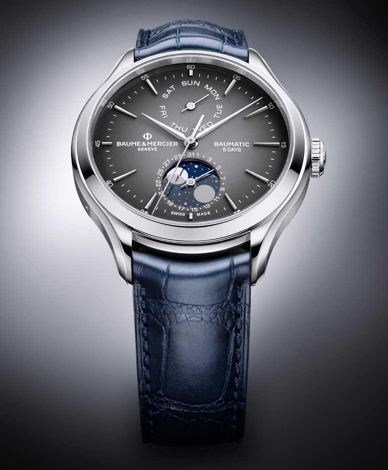BAUME & MERCIER「BAUMATIC克里頓系列」星期日期及月相腕錶,精鋼錶殼,42mm╱140,500元。(圖╱BAUME & MERCIER提供)
