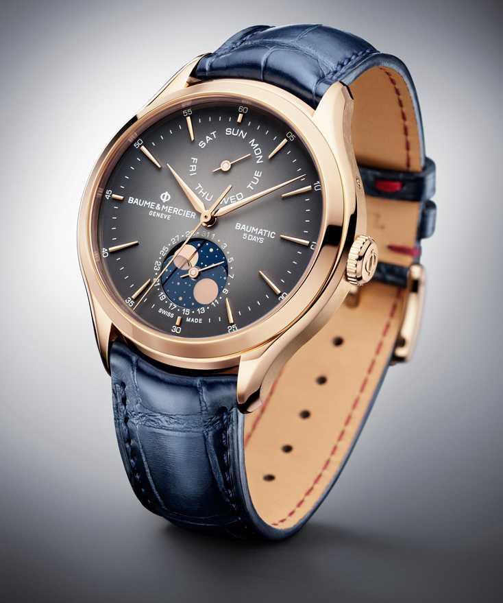 BAUME & MERCIER「BAUMATIC克里頓系列」星期日期及月相腕錶,18K玫瑰金錶殼,42mm╱378,000元。(圖╱BAUME & MERCIER提供)