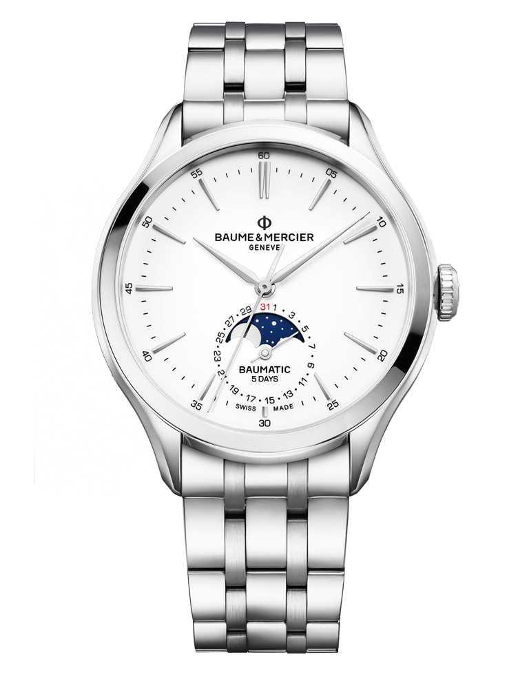 BAUME & MERCIER「BAUMATIC克里頓系列」日期月相自動腕錶,精鋼錶殼,42mm╱130,200元。(圖╱BAUME & MERCIER提供)