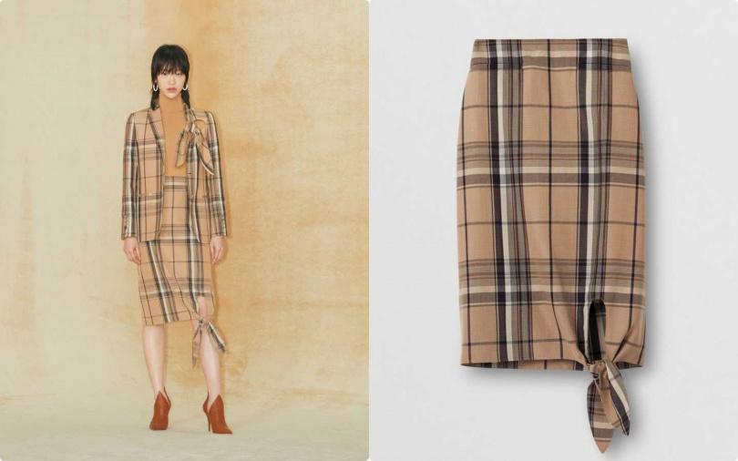 跳脫經典卻又不失優雅,完美地抓住對摩登的定義。BURBERRY 繫結細節設計格紋羊毛窄裙/27,500元(圖/品牌提供)