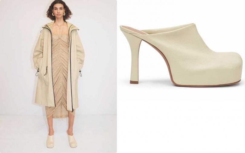 特殊的方頭穆勒鞋,讓柔美的洋裝也能展現摩登感。BOTTEGA VENETA BOLD 厚底白色羊皮方頭高跟鞋/30,900元(圖/品牌提供)