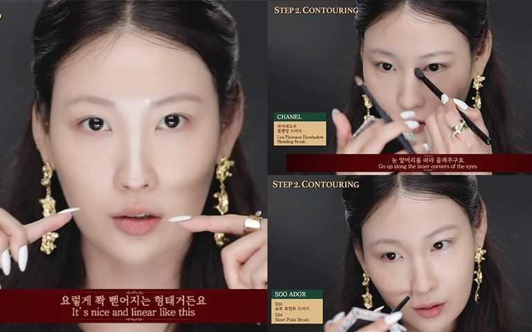 鼻子同樣用淺色粉底打亮,位於中間值的拿鐵色修飾鼻樑跟鼻頭。(圖/RISABAE Youtube)