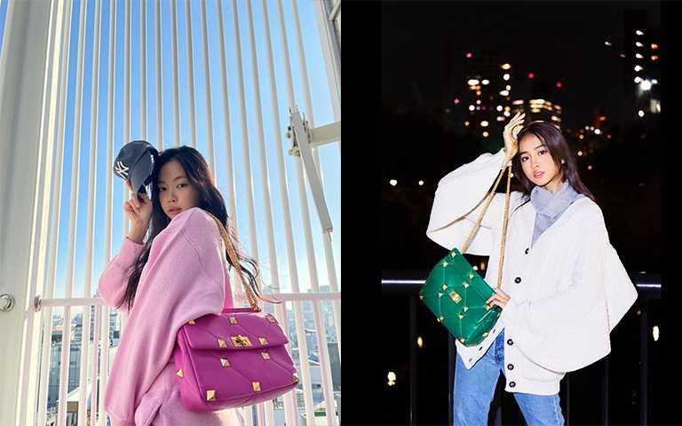 南韓女團Apink成員孫恩娜、木村光希則選擇粉色與綠色包款,展現出年輕世代的活力趣味性。(圖/koki IG,marcellasne_ IG)