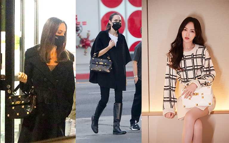 好萊塢女星安潔莉娜裘莉、中國女星唐嫣,以黑白色包款展現日常個性穿搭。(圖/Pinterest,Valentino提供)