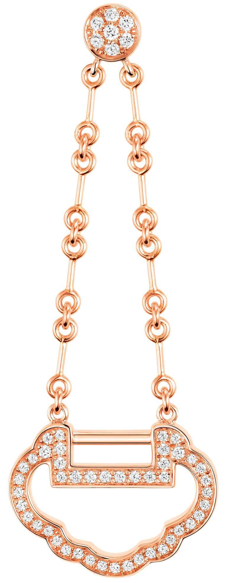 Qeelin「Yu Yi」系列玫瑰金鑽石耳環╱87,500元(單只)。(圖╱Qeelin提供)