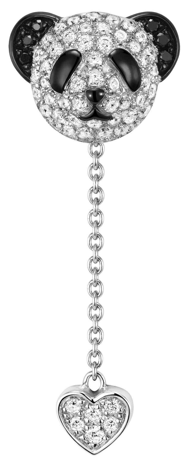 Qeelin「Petite Classic Bo Bo」白金鑲鑽及黑鑽石耳環╱60,500元。(圖╱Qeelin提供)
