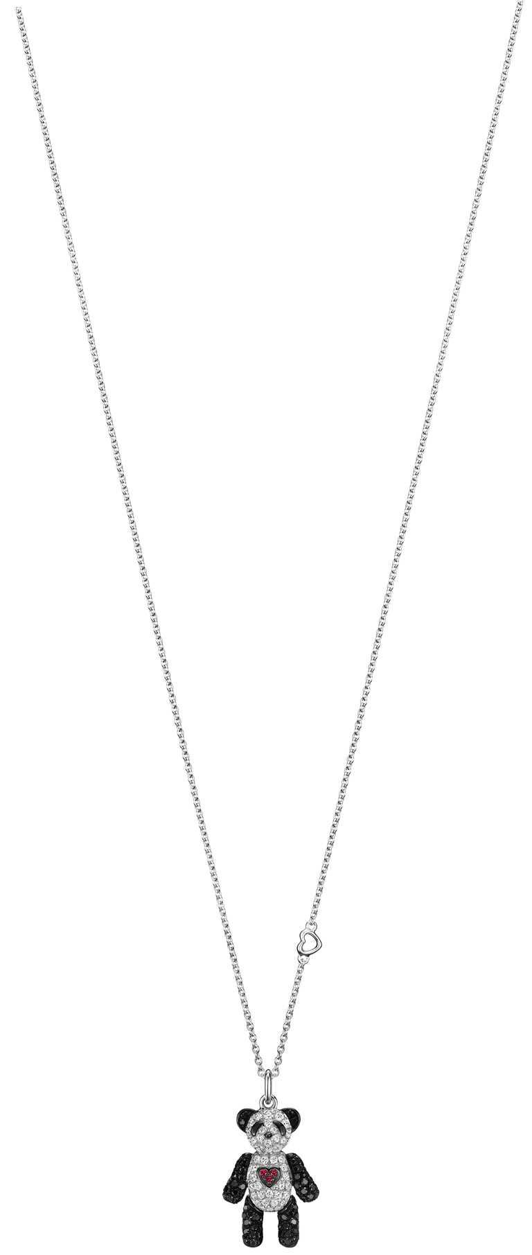 Qeelin「Petite Je T'aime Bo Bo」白金鑲鑽、黑鑽石及紅寶石墜鍊╱121,800元。(圖╱Qeelin提供)