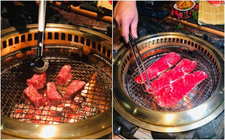 專人桌邊服務為客人燒烤。(圖/余玫鈴攝)