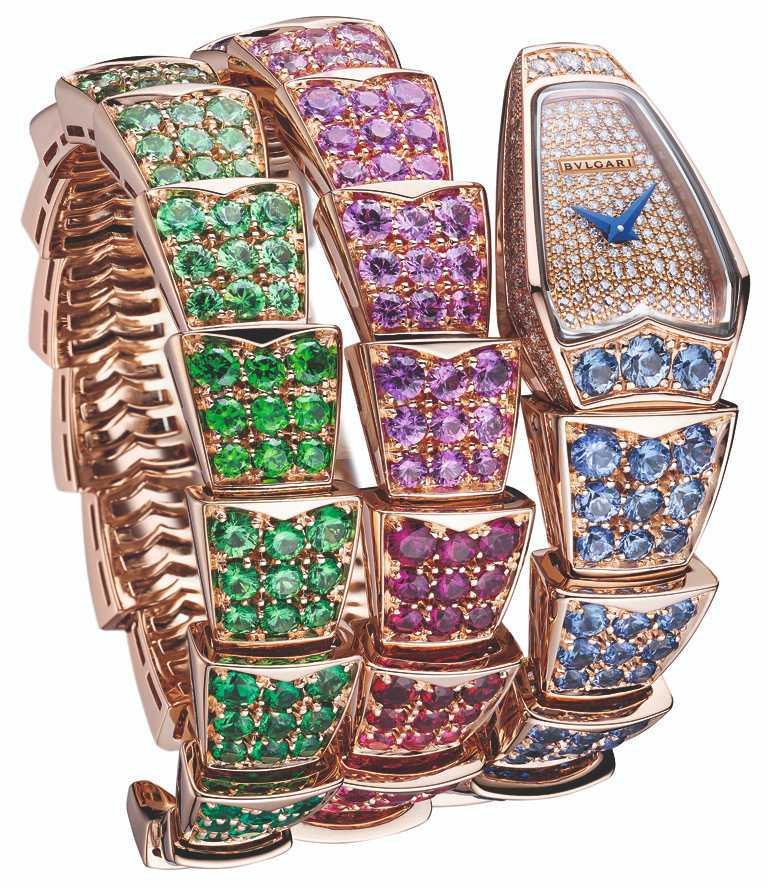 BVLGARI「Serpenti Viper Rainbow」腕錶,26mm,玫瑰金錶殼,鑽石271顆╱3,571,000元。(圖╱BVLGARI提供)