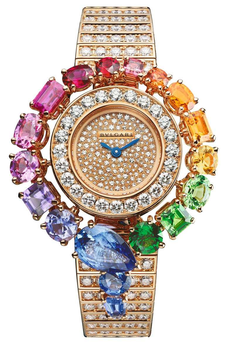BVLGARI「Serpenti Incantati Rainbow」腕錶,33mm,黃K金錶殼,鑽石282顆╱7,033,000元。(圖╱BVLGARI提供)