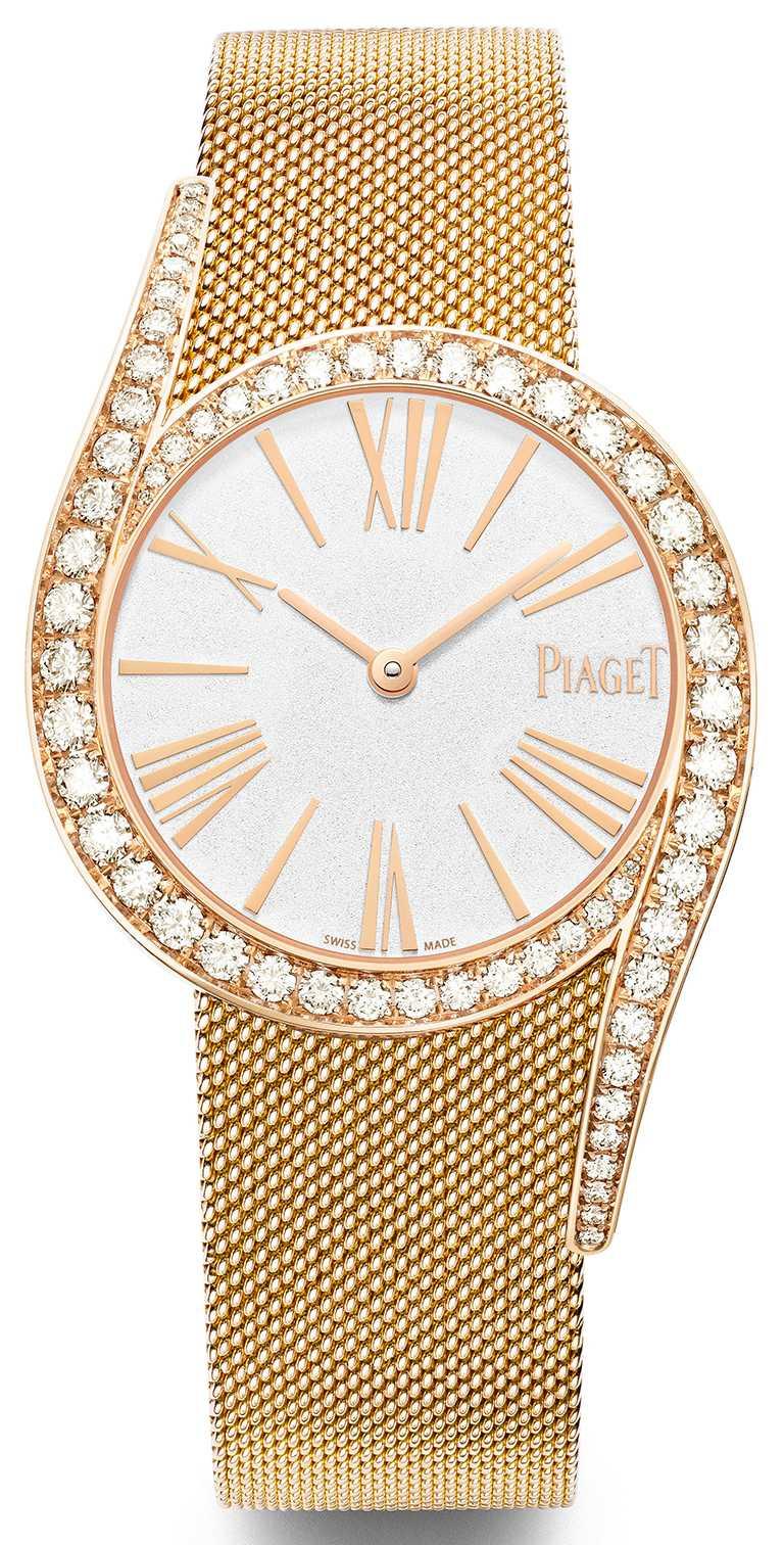 PIAGET「Limelight Gala」系列,18K玫瑰金高級珠寶鑽石腕錶,32mm,18K白金錶殼,伯爵製501P1型自動上鏈機芯,鑽石62顆╱1,430,000元。(圖╱PIAGET提供)