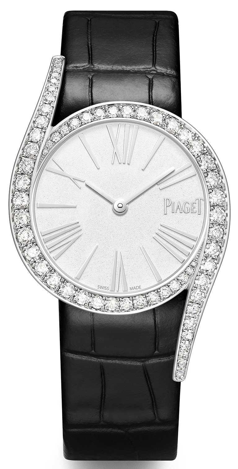 PIAGET「Limelight Gala」系列,18K白金高級珠寶鑽石腕錶,32mm,18K白金錶殼,伯爵製501P1型自動上鏈機芯,鑽石62顆╱1,190,000元。(圖╱PIAGET提供)