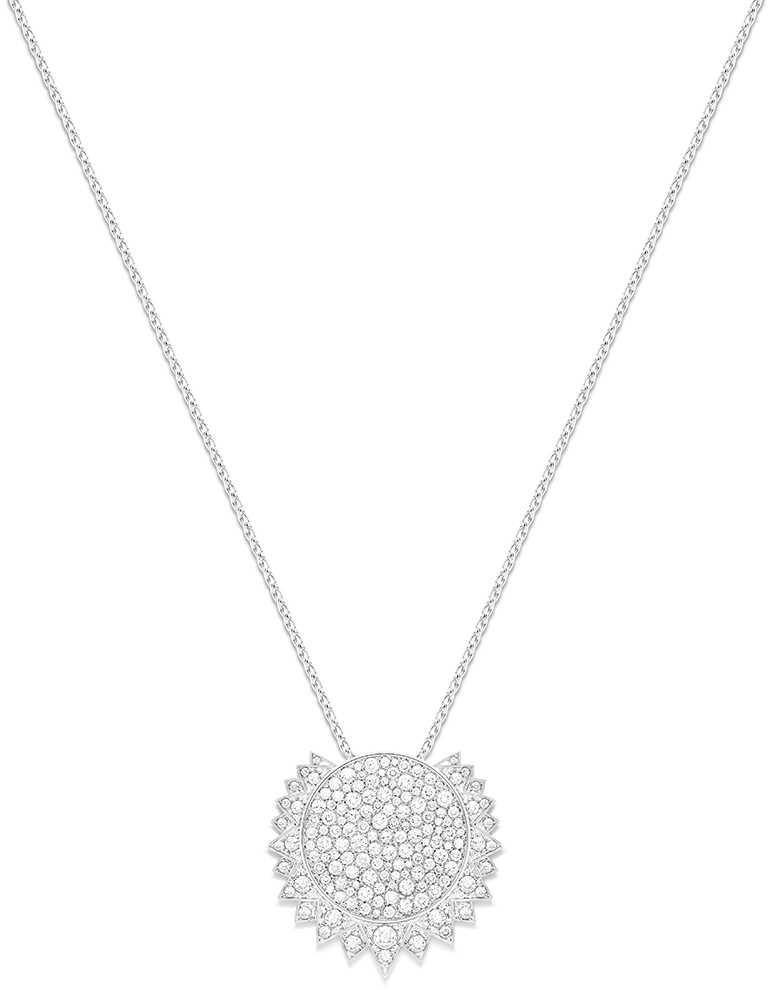 PIAGET「Sunlight」系列,18K白金鑽石墜鍊,鑽石150顆╱710,000元。(圖╱PIAGET提供)