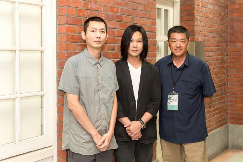 參展人許志遠(左起)、展覽音樂總監瑪莎、林強(圖/相信音樂提供)