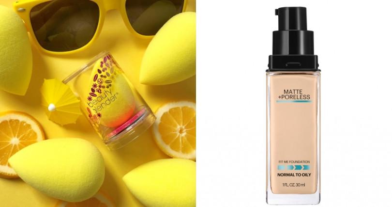 美妝蛋和夏日粉底首選:beautyblender® 原創美妝蛋-歡樂黃 Joy/690元,Maybelline FIT ME 反孔特霧粉底液/400元。(圖/品牌提供)