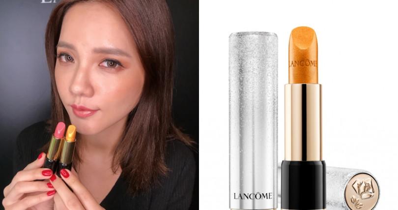LANCOME絕對完美唇膏#503搭配#06,就成為最美的漸層優雅色。(右)LANCOME絕對完美唇膏-冰雪奇蹟聖誕限量版#503/1,150元