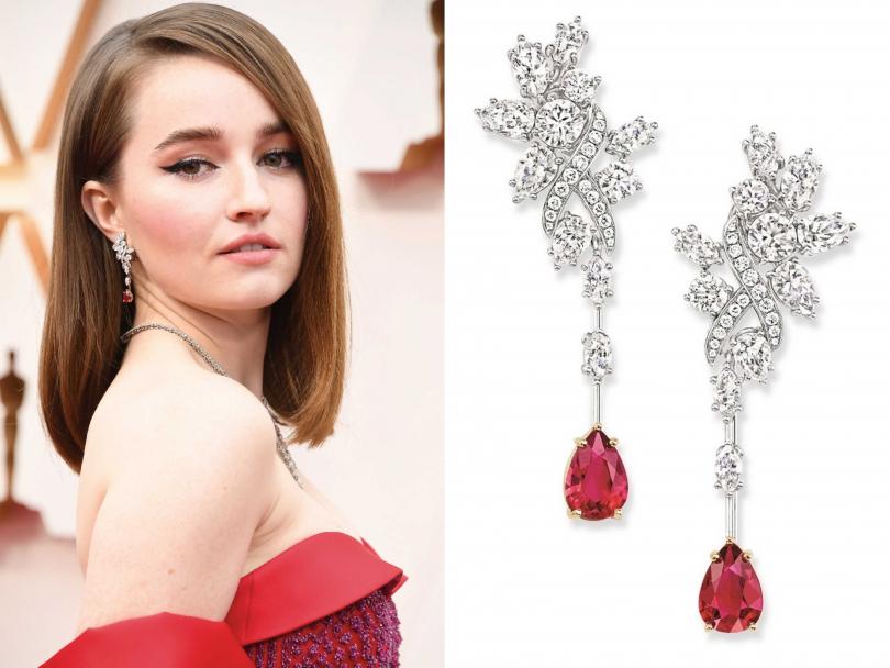 女星凱特琳黛佛,以HARRY WINSTON紅寶石與鑽石耳環搭配紅色禮服。(圖片提供╱HARRY WINSTON)
