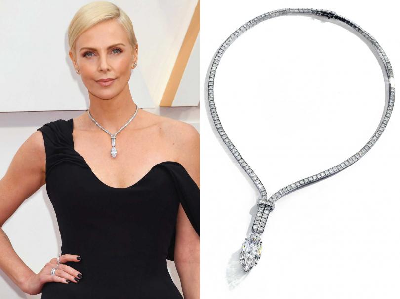 莎莉賽隆佩戴TIFFANY & CO.最新2020秋季高級珠寶系列鑽石項鍊,價值相當於台幣1億5,000萬元。(圖片提供╱TIFFANY & CO.)