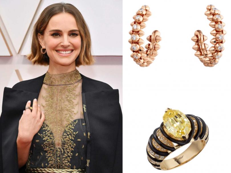 娜塔莉波曼以Dior 2020春夏黑絲質薄紗高級訂製晚禮服,搭配卡地亞珠寶出席紅毯。(右上)Cartier「Clash de Cartier」系列鑽石耳環╱421,000元;(右下)Cartier頂級珠寶系列黃鑽戒指。(圖片提供╱Cartier)
