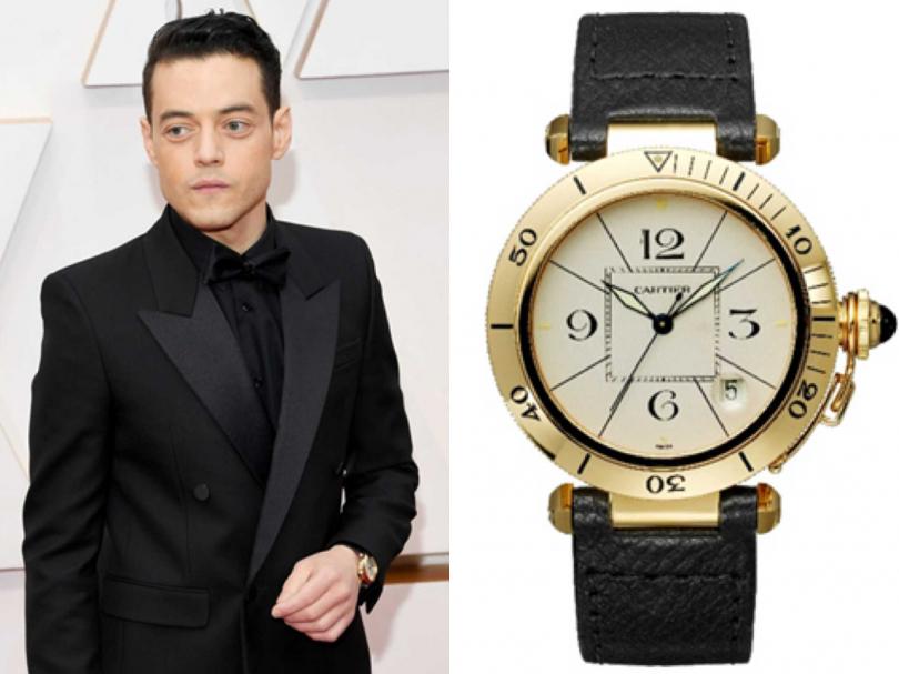 上屆奧斯卡影帝雷米馬利克(Rami Malek),佩戴Cartier「Pasha古董珍藏」系列腕錶。(圖片提供╱Cartier)