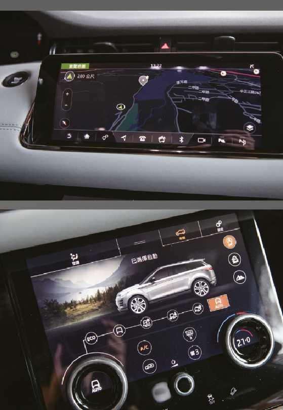 中控台配置2個10吋觸控螢幕,上方主要是影音系統,支援Apple CarPlay 及 Android Auto、導航、車輛設定等功能;下方則是第二代全地形反應系統以及冷氣空調。(圖/張文玠攝)