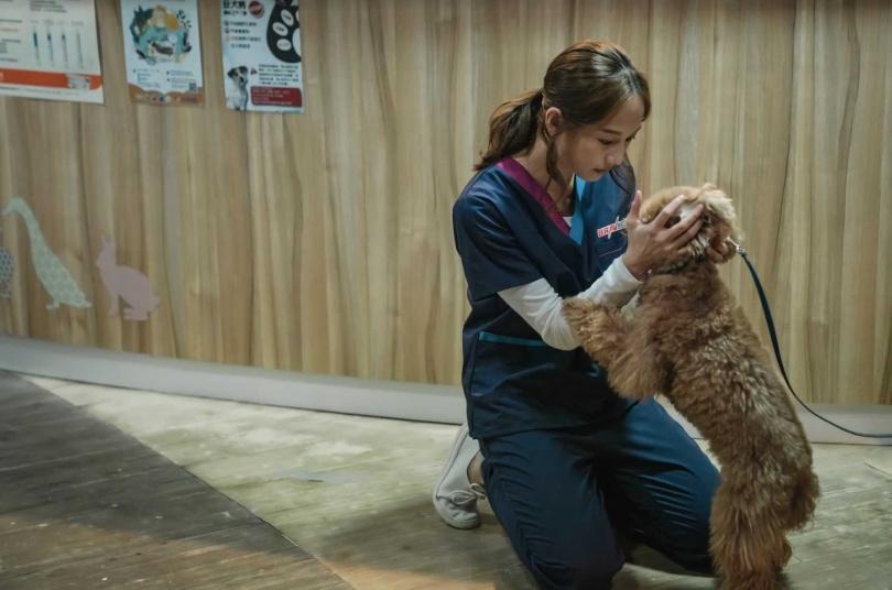 簡嫚書在《黑喵知情》飾演寵物醫院院長,外表看似冷漠,其實內心溫暖有善心。(圖/LINE TV提供)