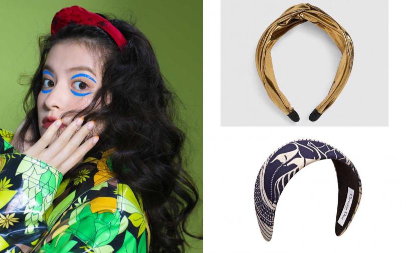 這些配件也很推薦!ZARA結飾金屬色髮箍/490元、Dior藍色蠟染布料髮箍/17,000元(圖/莊立人攝、品牌提供)