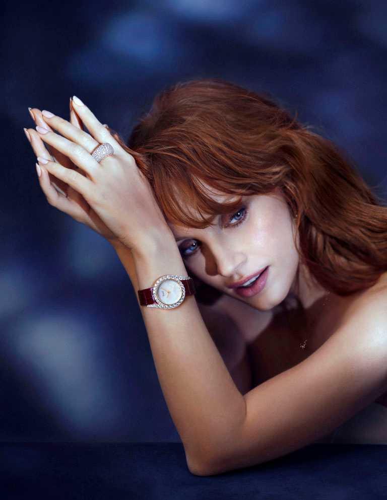 金球獎影后潔西卡雀斯坦(Jessica Chastain),伯爵品牌摯友。(圖╱PIAGET提供)