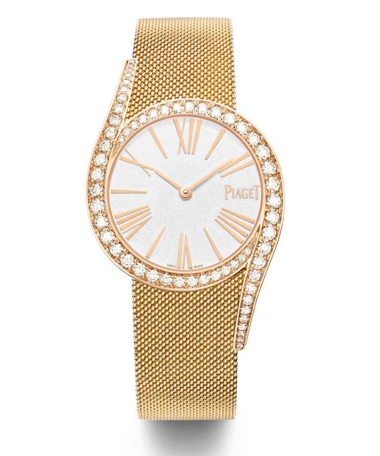 PIAGET「Limelight Gala」系列,18K玫瑰金鑲鑽自動上鍊珠寶腕錶╱1,420,000元。(圖╱PIAGET提供)