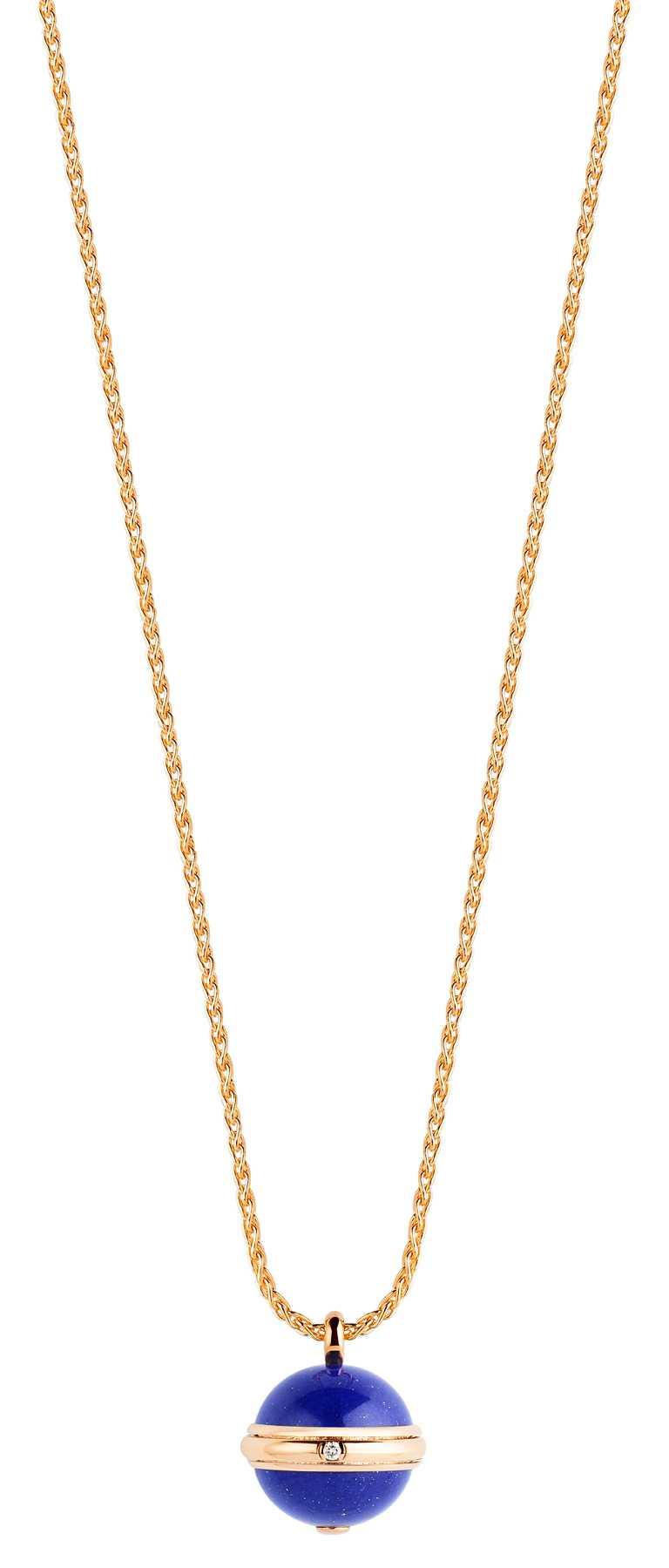 PIAGET「Possession」系列,玫瑰金青金石鑽石墜鍊╱218,000元。(圖╱PIAGET提供)