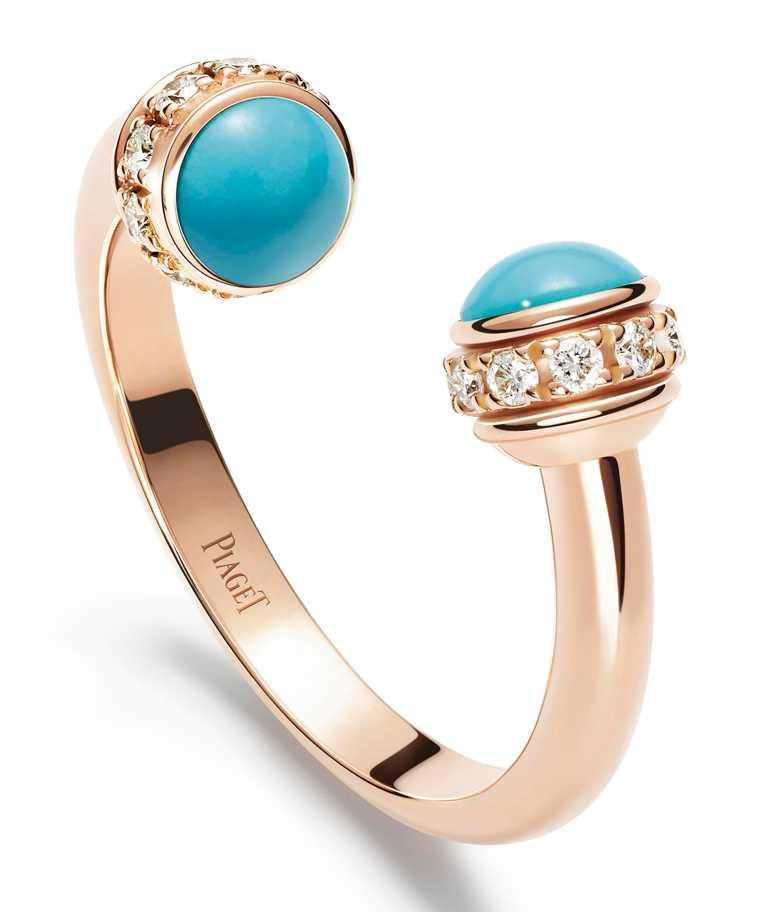 PIAGET「Possession」系列,玫瑰金土耳其石鑽石戒指╱100,000元。(圖╱PIAGET提供)