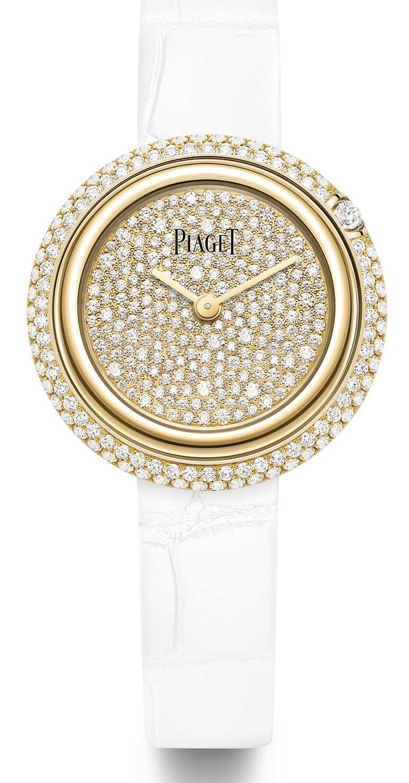 PIAGET「Possession」系列30周年限定作品,18K黃金雪花鑲嵌錶盤腕錶,限量130只╱930,000元。(圖╱PIAGET提供)