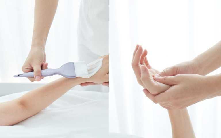 手部按摩:特別加強因長期用手機、打電腦而緊縮的手掌、手臂,享受微酸但又過癮的肌肉解放。手部課程,帶到前胸及頭皮揉按,是帶著韻律,不是搓頭髮,就像「移動甜瓜的果皮」以雙手感受數層組織之間的關係,利用指尖壓力放鬆僵硬的纖維沾黏。(圖/品牌提供)