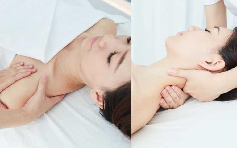 肩頸按摩:透過輕揉頸部兩側的胸鎖乳突肌,雙手包覆推滑頸後頭夾肌,特別加強夾捏肩膀的斜方肌放鬆。特別加強肩胛骨兩側,雙手手心深入肩胛骨,頂拉滑脊椎兩側,再加強枕骨處放鬆。(圖/品牌提供)