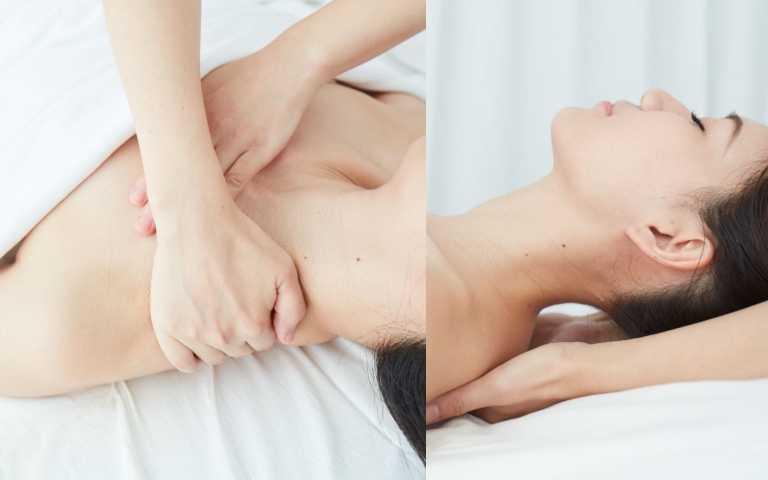 放鬆斜方肌,加強肩胛骨縫:揉捏僵硬肩頸,而最容易累積痠疼的肩胛骨縫,美療師的溫厚雙手深入肩胛骨,指腹往上頂住再深拉,舒壓超有感;特別以手扣住肩窩,以被動式延展,拉長緊繃頸部,舒解上班族的駝背感!最後還有頭皮的韻律揉按,解放腦壓。溫蘊好眠手60分/2200元、足2200元;40分足1800元(圖/品牌提供)