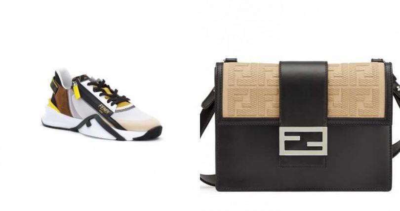 FENDI Flow 造型休閒鞋_建議售/28,700元;FENDI FF LOGO 撞色 Mini Baguette/價格店洽(圖/品牌提供)