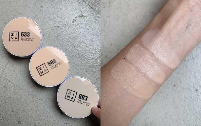 3INA柔霧光美肌氣墊粉餅全3色9ml/1,150元為亞洲人暖黃肌膚色調量身訂製的3色選#603、#606、#633。(圖/吳雅鈴攝影)