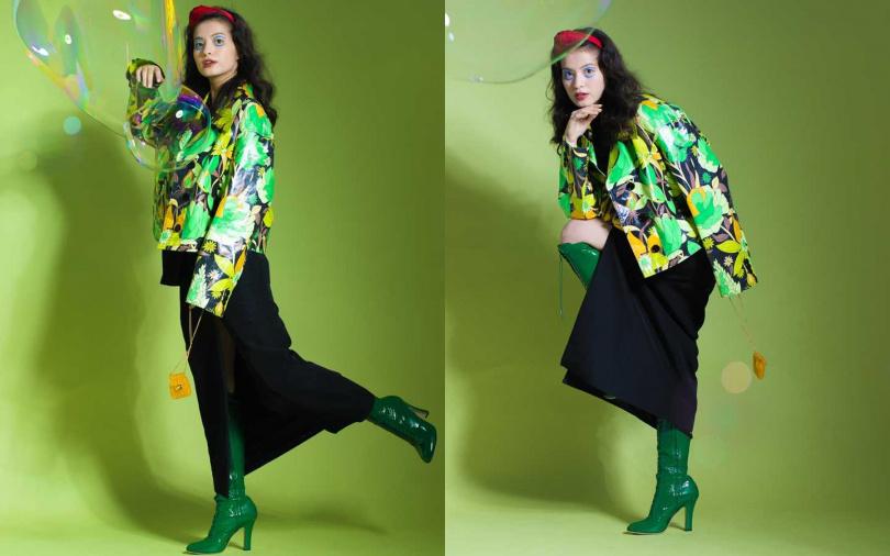 GUCCI黑色Over-Size背心/62,000元、GUCCI黑色棉質長裙/40,000元、FENDI Jacket/價格店洽、MIU MIU綠色漆皮長靴/價格未定、FENDI Karligraphy紅色髮箍/12,900元、FENDI Pico Baguette/23,400元(圖/莊立人攝)