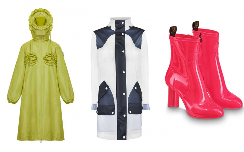 時髦防水性item。MONCLER青檸色長版雨衣外套/56,200元、Hunter雙色拼接獵裝帽外套(藍)/7,680元、LV SILHOUETTE短靴/30,900元(圖/品牌提供)