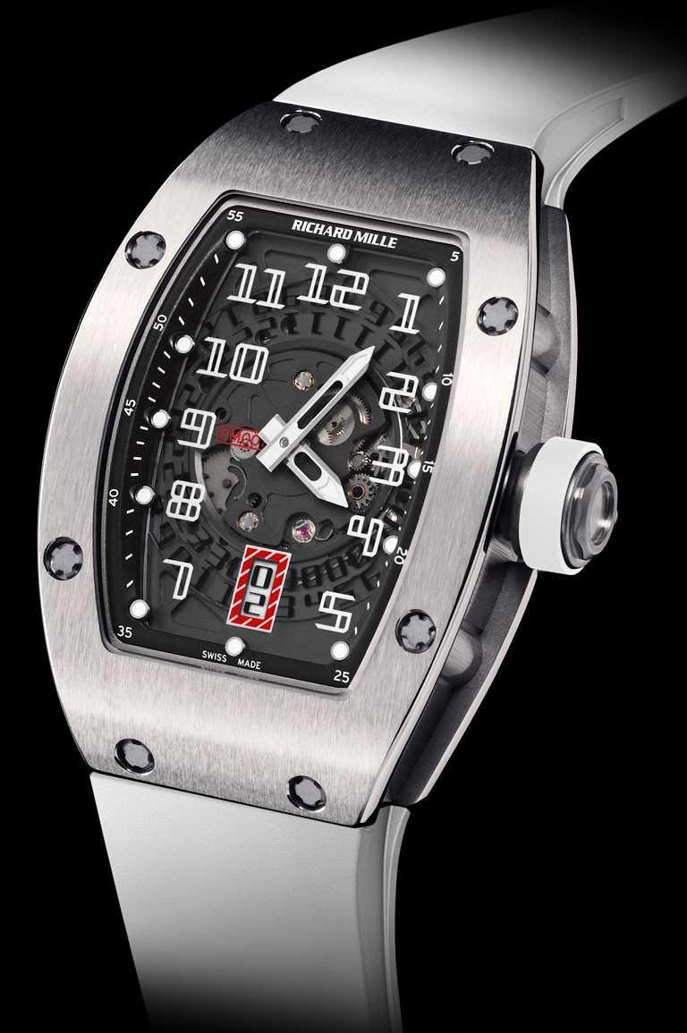 RICHARD MILLE「RM 007鈦合金女士腕錶」,鈦合金錶殼,白色錶帶,45mm╱1,750,000元。(圖╱RICHARD MILLE提供)