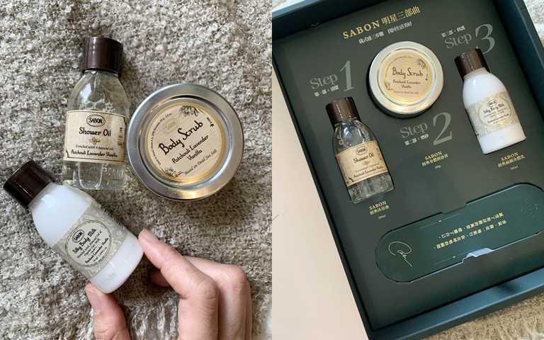 裡頭是最經典PLV香味的50ml沐浴油+60g身體磨砂膏+50ml身體乳液的組合。(圖/吳雅鈴攝影)