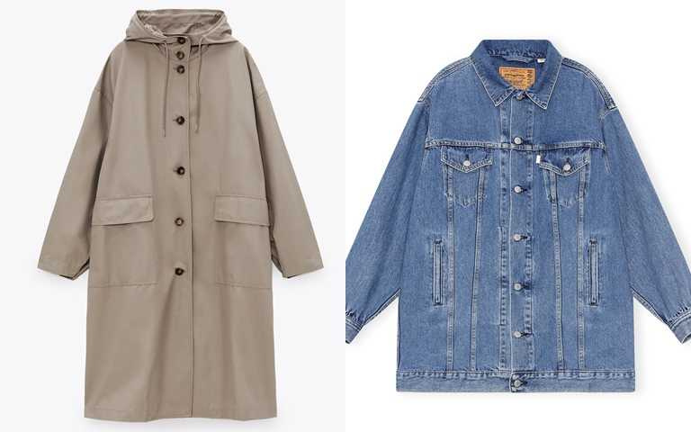 還有這些寬鬆版外套也很推薦>>ZARA防潑水加大版外套/2,990元、LEVI'S® x GANNI聯名系列長版丹寧夾克外套/12,900元(圖/品牌提供)