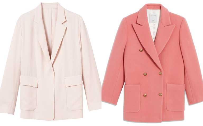 這些西裝外套都很推薦>>Longchamp米色西裝外套/25,800元、Sandro粉色外套/19,710元(圖/品牌提供)