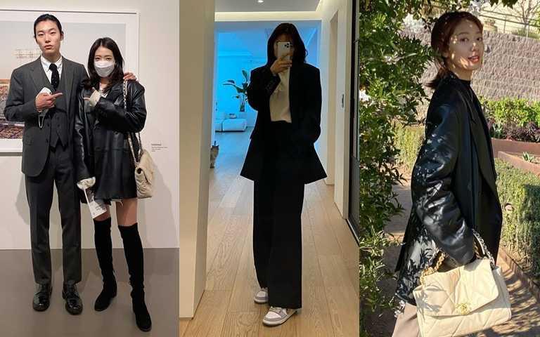 如果是深色的西裝外套,當然更能瘦上加瘦!(圖/翻攝朴信惠IG)